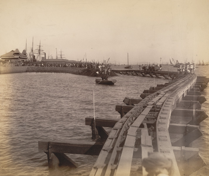 North end, main dam [Victoria Dock construction, Bombay].